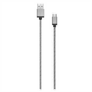 7 FEET USB A TO TYPE C BLACK/WHITE BRAIDED CABLE W/ METAL CONNECTOR