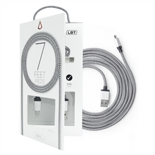 Load image into Gallery viewer, 7 FEET USB A TO TYPE C BLACK/WHITE BRAIDED CABLE W/ METAL CONNECTOR