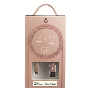 4 & 2 FEET LIGHTNING CABLE ROSE GOLD