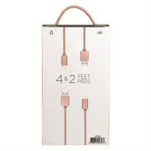 Load image into Gallery viewer, 4 & 2 FEET LIGHTNING CABLE ROSE GOLD