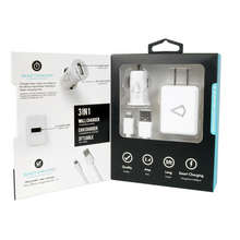 Load image into Gallery viewer, 2.4A WALL CHARGER+ CAR CHARGER + 3FT CABLE  APPLE APPROVED