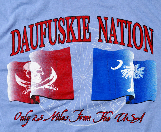 Daufuskie Nation Short Sleeve T-Shirt in Washed Denim - Daufuskie Difference