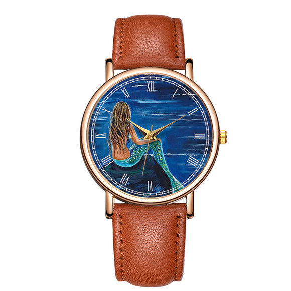 Classic Fashion mermaid Quartz Wrist Watch Leather Men Women  Charm Bracelet Watch relogio masculino