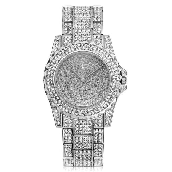 Iced Out Watches Luxury Date Quartz Wrist Watches With Micropave CZ Stainless Steel Watch For Men Jewelry
