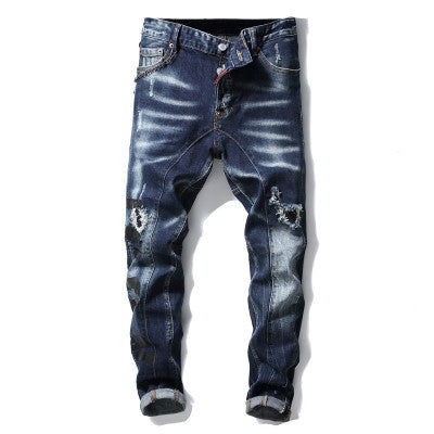 2020 Men's Painted Stretch Denim Biker Jeans Plus Size Slim Fit Pleated Pants Trousers Pantalon Homme Jean Calca Jeans Masculina