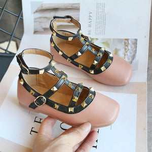 SKHEK Girls Roman shoes 2020 spring new fashion princess rivet square mouth small leather shoes casual comfortable baby shoes