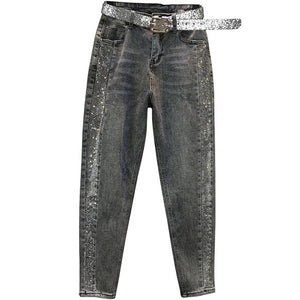 Plus size 26-32!spring autumn fashion hot Rhinestone jeans women high waist loose harem pants