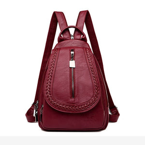 Women Leather Backpacks Zipper Female Chest Bag Sac a Dos Travel Back Pack Ladies Bagpack Mochilas School Bags For Teenage Girls