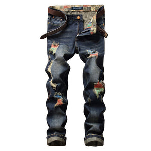 Gersri Men street ripped straight jeans summer high quality brand jeans distressed denim trousers young hole jean for male