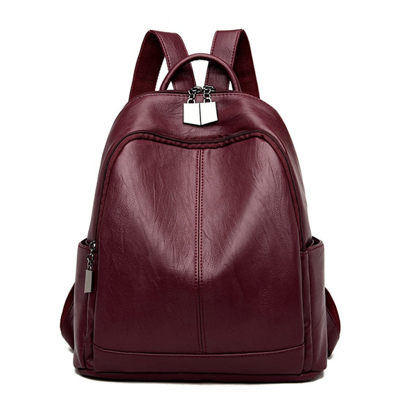 LONOOLISA Vintage Women Large Capacity Travel Backpacks High Quality Soft Leather Ladies Back Pack Mochila Feminina School Bags