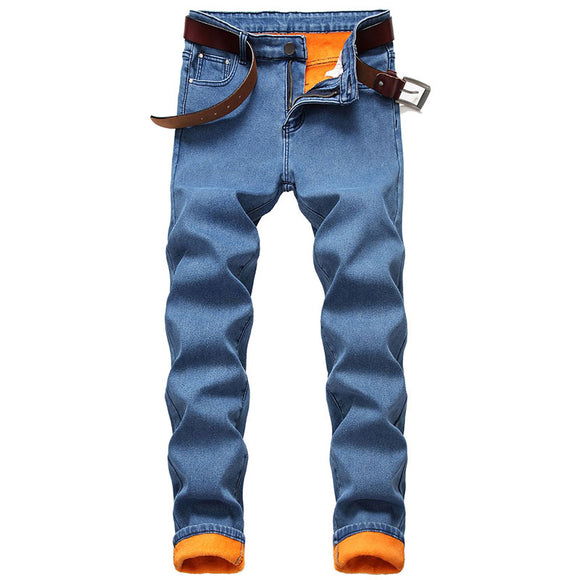 KIOVNO Men's Solid Color Casual Denim Trousers Slim Fit Fleece Lined Warm Jeans Pants For Male Size 30-42