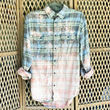 Distressed Flannel - Blue + Green