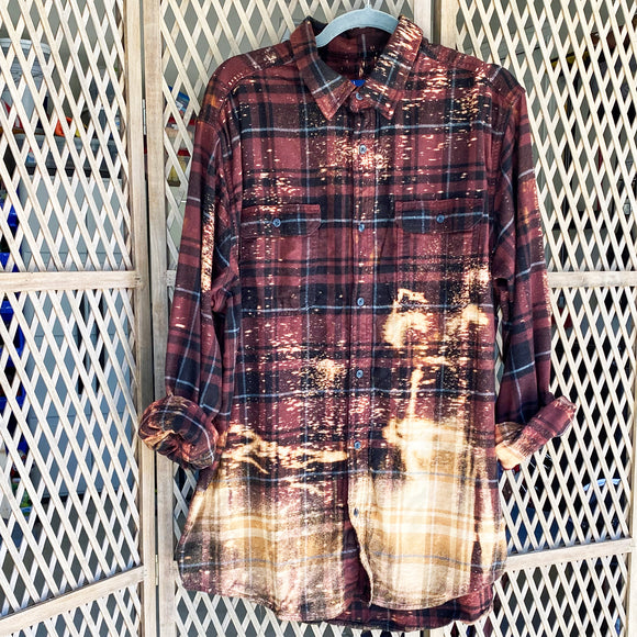 Distressed Flannel - Maroon