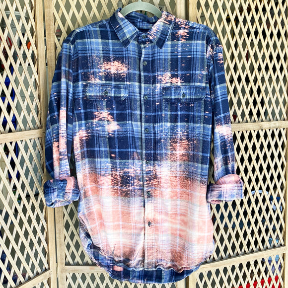 Distressed Flannel - Navy