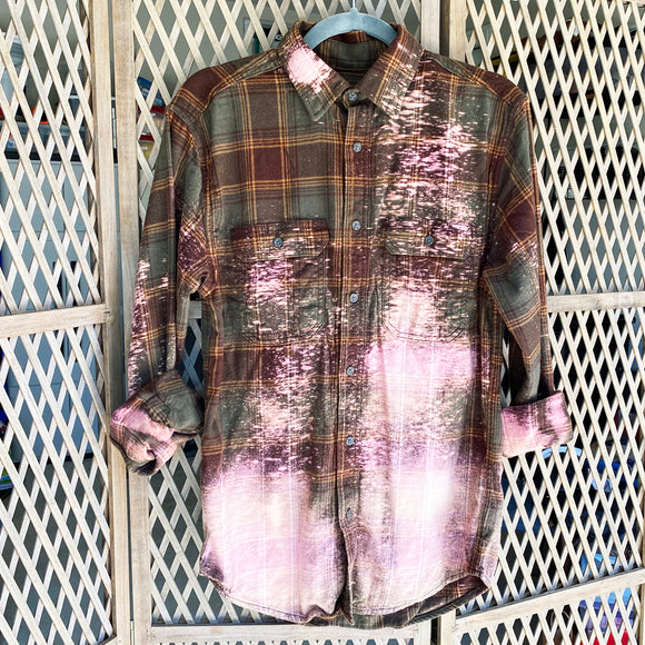 Distressed Flannel - Olive Green