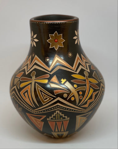 "Polished and Carved Black Jar With Coral 7.5""H x 6.5"" by Glendora Fragua - Jemez Pueblo"