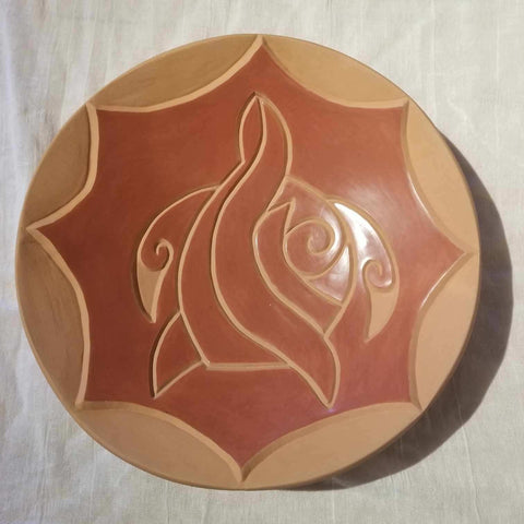 "Turtle Plate Carved on Both Sides 3""High x 12""Diameter by Jason Ebelacker Santa Clara Pueblo"