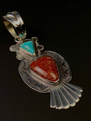 Dino Bone with Natural Turquoise Set in Sterling Silver by Tim Blueflint - Chippewa