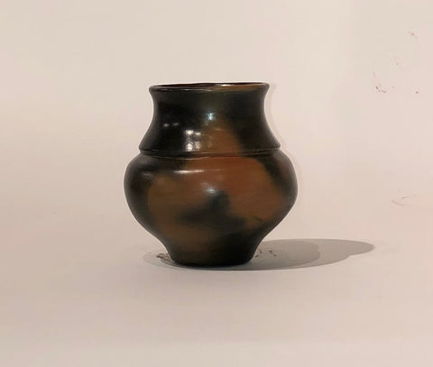"Small Jar With Fire Clouds 4.75""H x 4.5""Diameter by Samuel Manymules"
