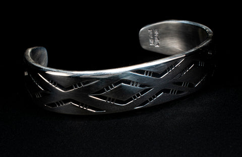 Sterling Silver Stamped Blanket Cuff by Tim Blueflint - Chippewa