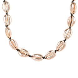 Cowrie Shell Choker Strand Necklace Rose Gold - Allccess