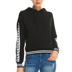 Fleece Lace Up Detail Sleeve Hooded Top - Allccess