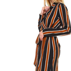 Multi Stripe Long Blazer - Allccess