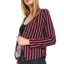 Stripe Zipper Detail Blazer - Allccess