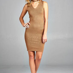 Women's Sleeveless V-Neck Choker Sweater Dress - Allccess