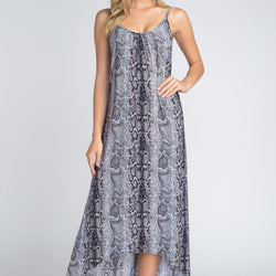 Women's Snakeskin Print Maxi Tank Dress - Allccess