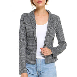Point Plaid Blazer - Allccess