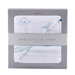 Whale and Ocean Stripe Newcastle Blanket - Allccess
