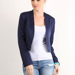 Solid Crop Blazer - Allccess