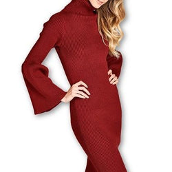 TURTLENECK SWEATER DRESS WITH BELL SLEEVE - Allccess