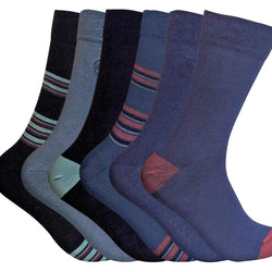6 Pairs Mens Patterned Bamboo Socks - Allccess