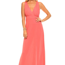 Women's Halter Maxi Dress with Cross Back Straps - Allccess