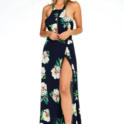 Women's Floral Sleeveless Slit Maxi Dress - Allccess