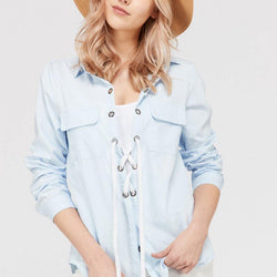 Women's Lace Up Blouse Top - Allccess