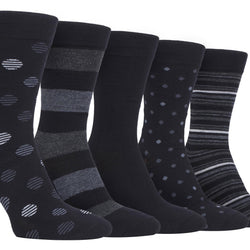 5 Pairs Mens Patterned Soft Top Bamboo Dress Socks - Allccess
