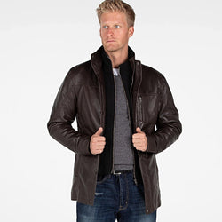 Mens Fancy Lambskin 4 Button Leather Coat - Allccess