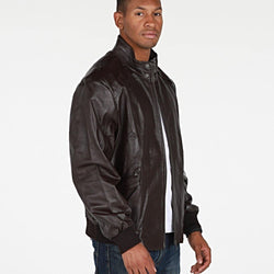 Mens Calypso Bomber Leather Jacket - Allccess