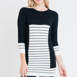 Striped Print Long Sleeve Tunic Top - Allccess