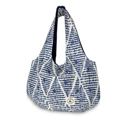 Amelie Reversible Hobo: Indigo Dots - Allccess