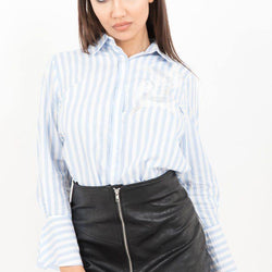 Blue Pinstripe Embroidered Shirt - Allccess