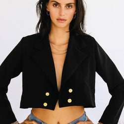 White Kelly Cropped Blazer - Allccess