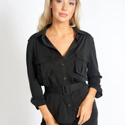 Office Day Easy Black Shirt Top - Allccess