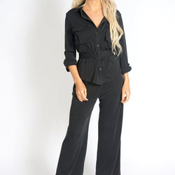 Office Day Easy Black Wide Leg Pants - Allccess