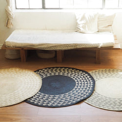 White Triangle Mat | 4' Round | Natural Base - Allccess