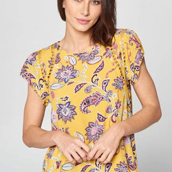 PRINT SHORT SLEEVE TOP WITH BACK KEYHOLE - Allccess
