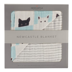 Peek-A-Boo Cats and Pencil Stripe Newcastle Blanket - Allccess